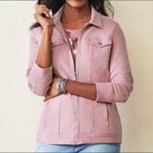 Denim&co comfy knit denim zip jean jacket pink L